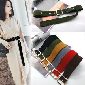 women Long Velvet Belt Knot Black Waistband Buckle Decorate belts