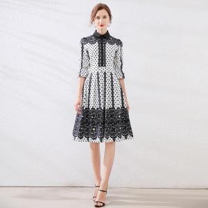 Elegant Dot Print Women Summer Dress Single-Breasted Peter Sleeve Ruffle Slim Waist Female Midi Dress Office Lady A-line Dress