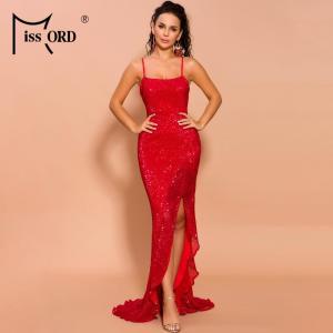 Missord 2021 Women Sexy Off Shoulder Sequin Dresses Female High Split Elegant Maxi Solid Color Dress  FT19521-1
