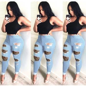 High Waist Jeans For Women Fashion Slim Hole Leopard Patchwork Long Jeans Sexy Ripped Denim Jeans Pants Push Up Jeans Boyfriend