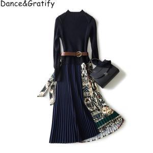 High Quality Designer Women Winter Autumn Long Sleeve Fashion Knitting Patchwork Sweater Dress Vintage Print Midi Pleated Dress
