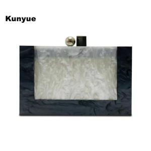 Brand Designer Messenger Bag Stylish New Pearl Patchwork Box Acrylic Evening Bag Vintage Black White Clutch Purse Casual Handbag