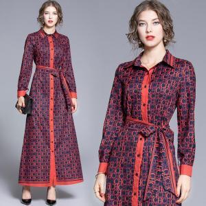 Make spot - loose big European and American fashion joker positioning printed long summer dress shirts