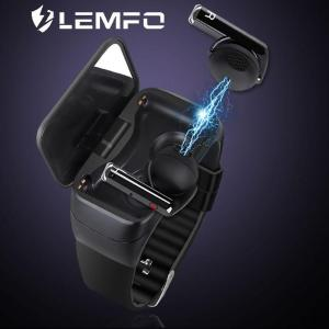 LEMFO 2020 Newest Smart Watch with Bluetooth Earphones BT5.0 Heart Rate Monitor IP67 SmartWatch Support Siri BT Call Smart Band