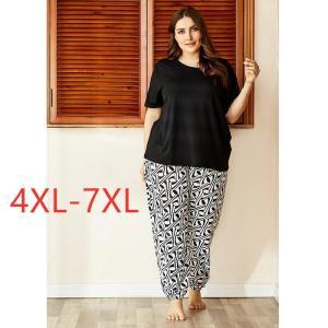 Ladies spring autumn plus size pajamas for women short sleeve black T-shirt and print long pants home wear suit 4XL 5XL 6XL 7XL