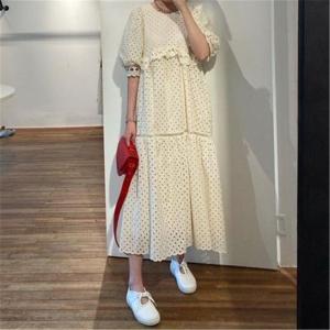 RUGOD 2020 New Arrivals Women Summer Dress O-neck Puff Sleeved High Waist Hollow Out Dresses Elegant Lady Vestidos