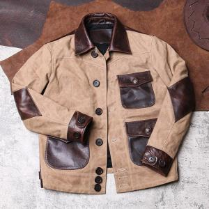 18-24C Read Description! Asian size Army style genuine cow leather canvas coat cowhide leather wax water proof jacket