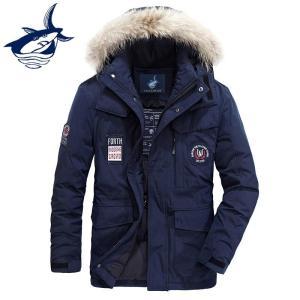 2018 Men's Winter Jacket Thicken Fur Collar Embroidery Windproof Hooded Tace & Shark White Duck Down Jacket Men Down Coats men
