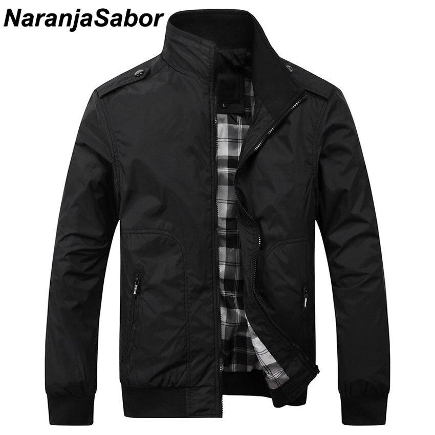 NaranjaSabor Spring Autumn New Men's Casual Jackets Fashion Male Solid Coats Slim Fit Military Jacket Branded Men Outwears 4XL