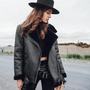 Women Fur Coat Winter Leather Jacket Women Black Lamb Fur Short Motorcycle Faux Sheepskin Shearling Street Coats AS175882