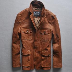 2016 slim fit italy Vintage leather jacket men four pockets leather suit men high quality leather coat men brown M-XXL