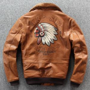 2019 New Men Embroidery Indian Skull Air force flight A1 Pilot Sheepskin Jacket Casual Wool collar Real leather jacket S-XXXL