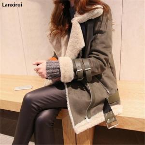 Winter High -Quality Jacket Female Suede Lamb Keep Warm Wool Coat Motorcycle Lapels Coat Female Thicker Jacket Women