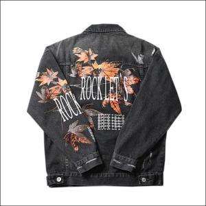 NAGRI 2020 New Brand Men's Clothing Denim Jacket Coat Washed Hole Frayed Outerwear Vintage maple leaf print Black Cowboy Jackets