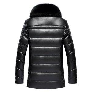 2019 Big hair collar Leather Jacket Men Winter Duck Down Jackets Fox Fur Collar Coat Motorcycle Leather Coats Parka Chaqueta