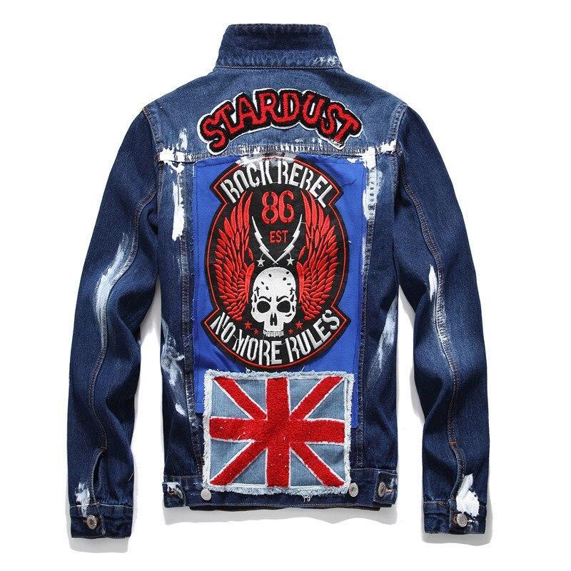 Men's Fag Letters Patch Design Painted Denim Jacket Slim Fit Skull Badge Patchwork Long Sleeve Jean Coat Outerwear Hip Hop New