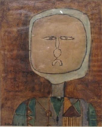 Farid Belkahia, Procession, 1994-1995, Henné sur bois, panneaux de 19 x 19 cm, Collection Académie du Royaume du Maroc
