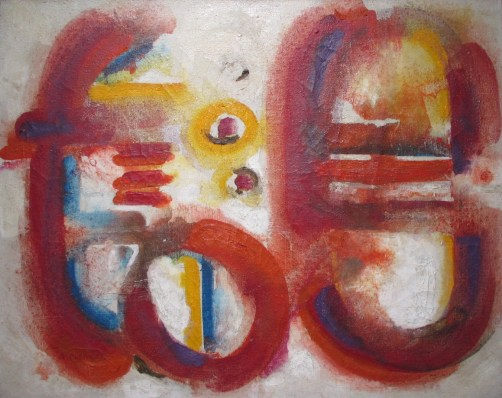 Ahmed, CHERKAOUI, Talisman rouge, 1967, Huile sur toile, Collection particulière