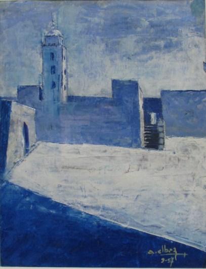 André ELBAZ, El Jadida, 1957, Huile sur carton, Collection particulière