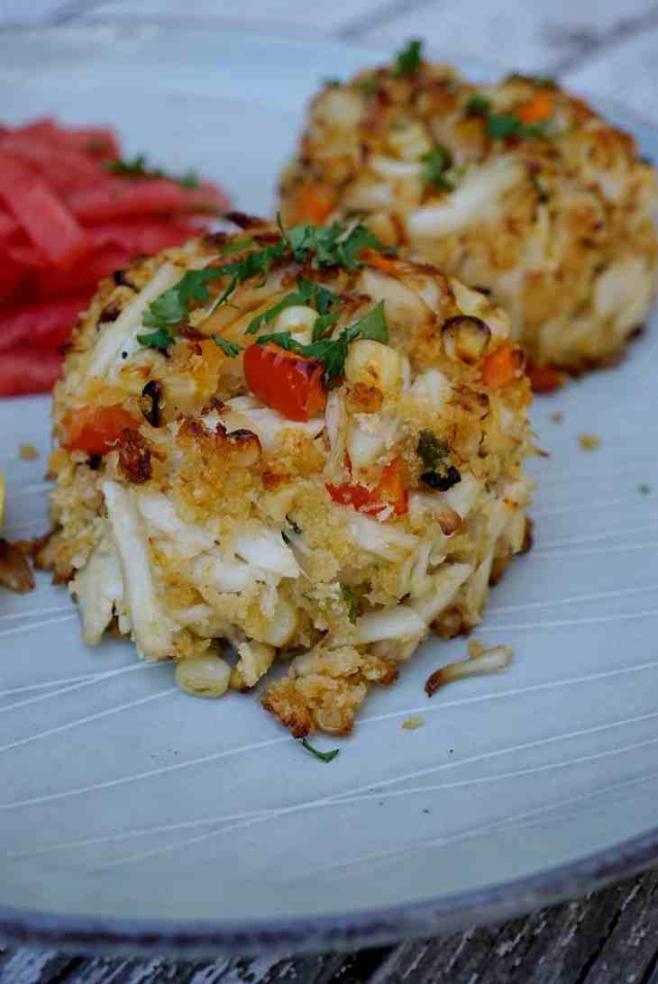 A Charred Crab Cake recipe that will be served at the Soul Food Sessions event July 29th. Soul Food Sessions hosts non-profit pop-up dinners to increase diversity throughout the food industry.