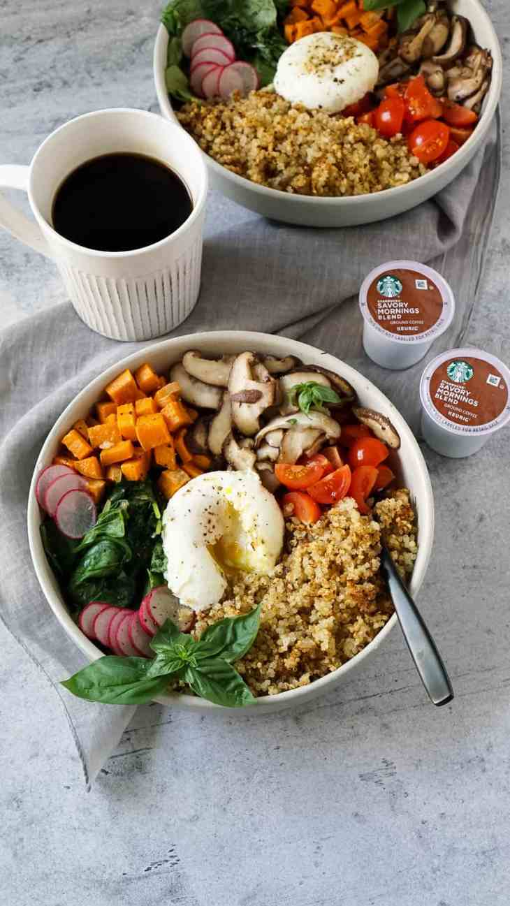 quinoa breakfast bowl with coffee and starbucks k-cup pods