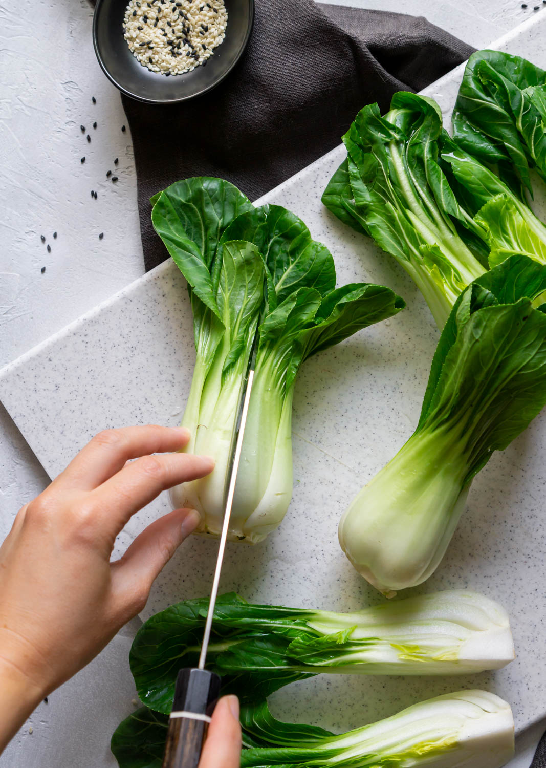 slicing bok choy down the center