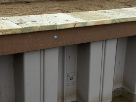 Vinyl Seawall with weep hole for water drainage
