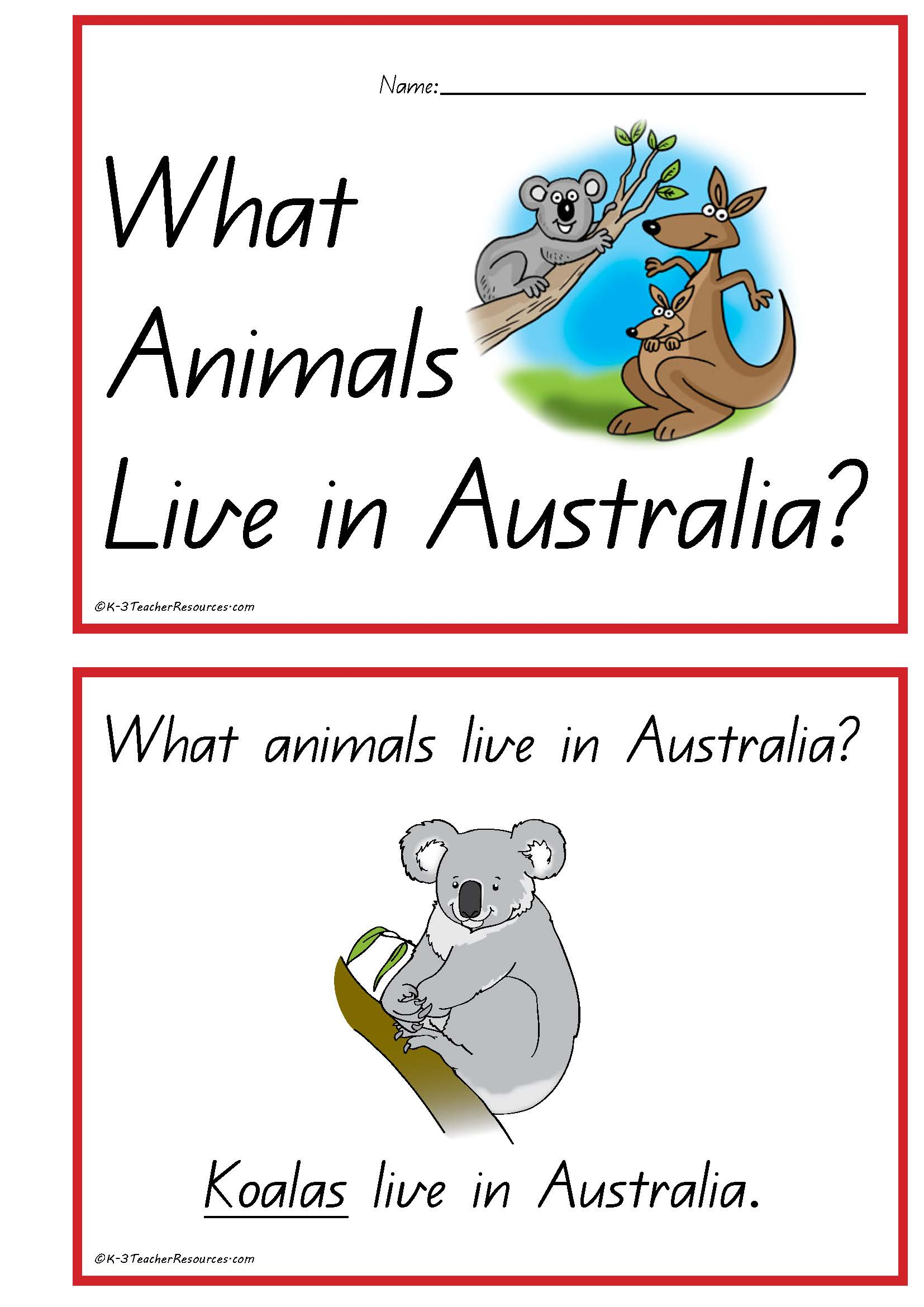 Australian Animals Concept Book
