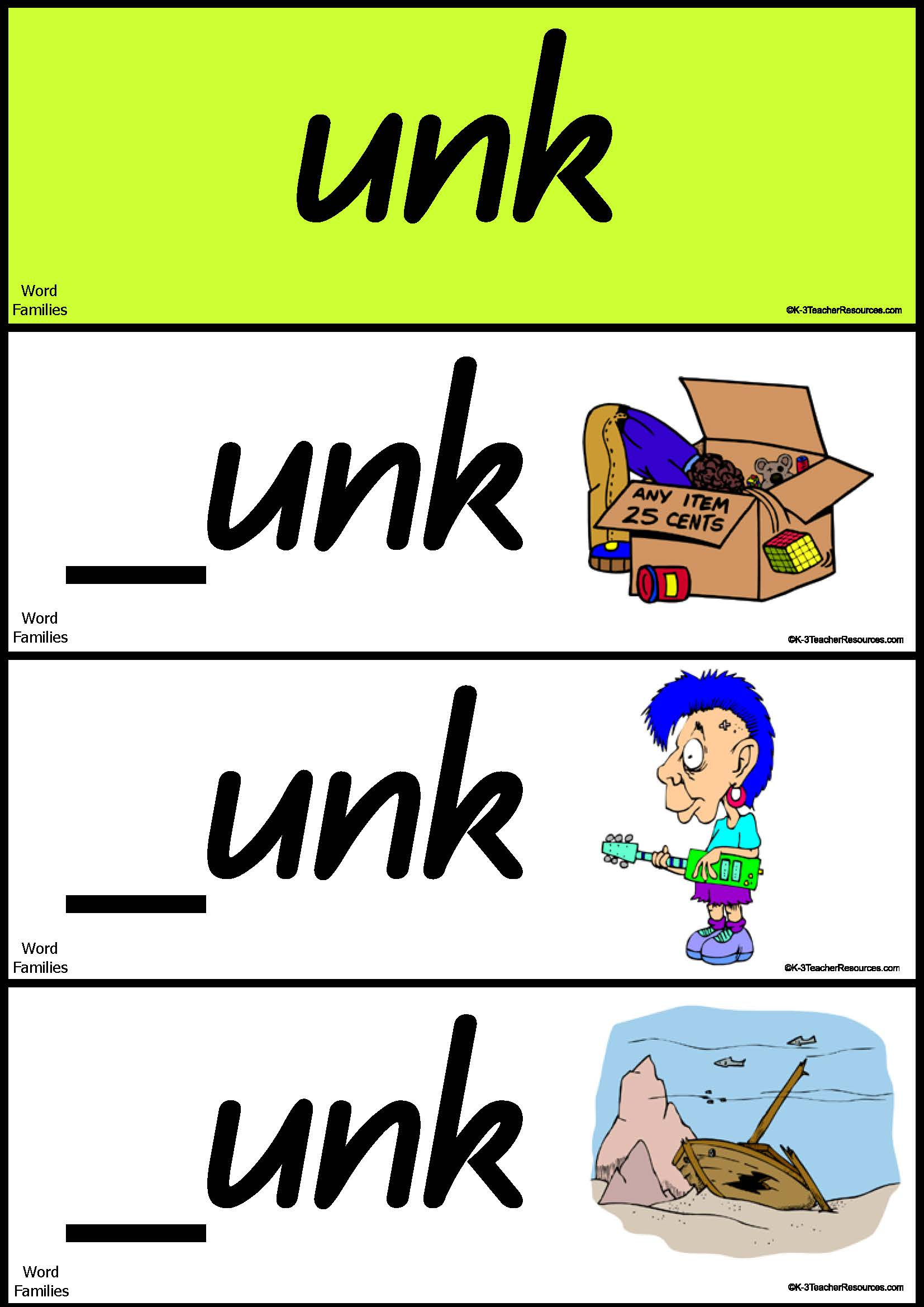 Word Families Short Vowel U