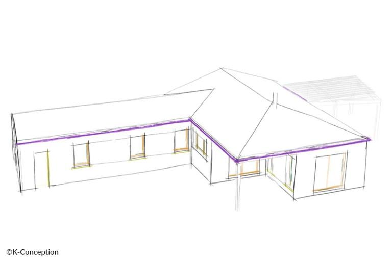 Croquis maison 3 chambres en L avec terrasse et piscine