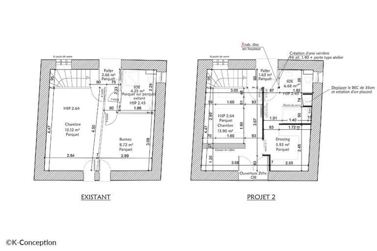 Plan projet d'aménagement intérieur, petit appartement.
