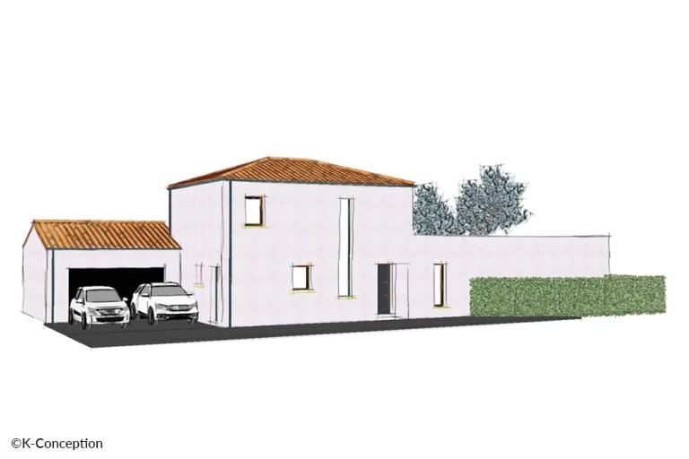 Croquis en couleur d'une maison contemporaine à étage. Façade avant avec garage.