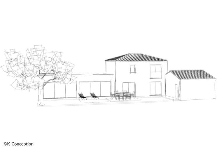 Croquis architecte d'une maison contemporaine à étage. Façade arrière avec terrasse.