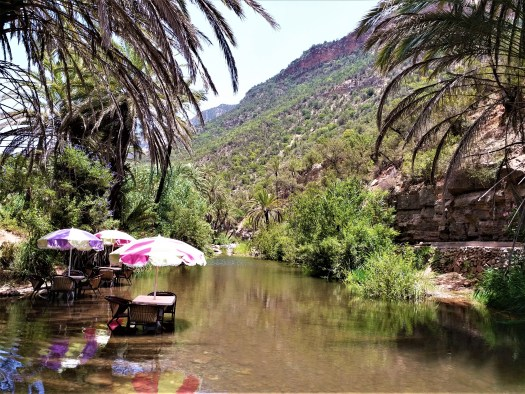 K in Motion Travel Blog. Southern Morocco and Western Sahara. Paradise Valley Tables in Water