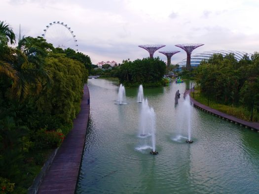 K in Motion Travel Blog. Superheroes and Supertrees in Singapore. Fountains at the Gardens By The Bay