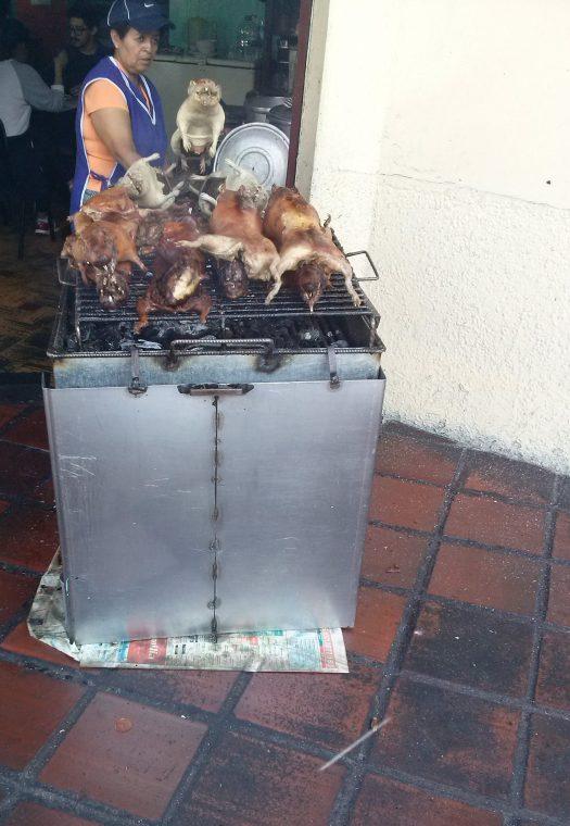 K in Motion Travel Blog. Baños - A Crazy Little Town in Ecuador. BBQ Guinea Pigs In Banos, Ecuador