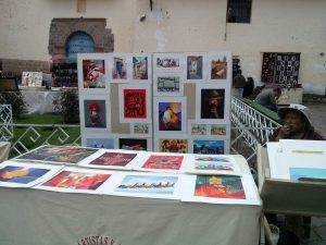 K in Motion Travel Blog. Adventures In Southern Peru. Art Display Andean Mountain Town of Cusco, Cuzco Peru