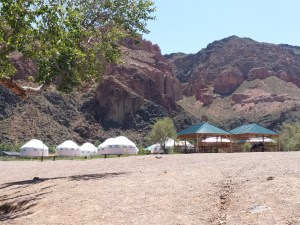 K in Motion Travel Blog. Almaty Kazakhstan. Charyn River at the end of Charyn Canyon. Eko Park Yurts