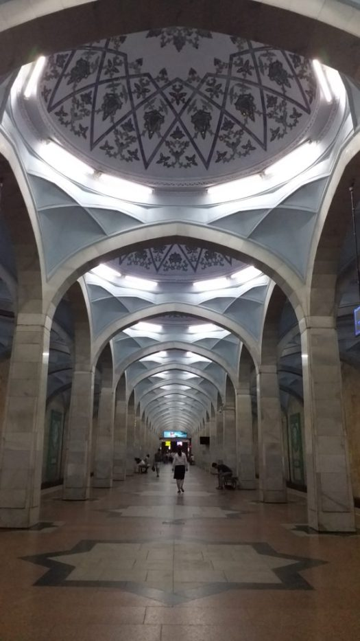 K in Motion Travel Blog. Underrated Uzbekistan. Tashkent Metro Station Decorations. Mosque Like Ceilings