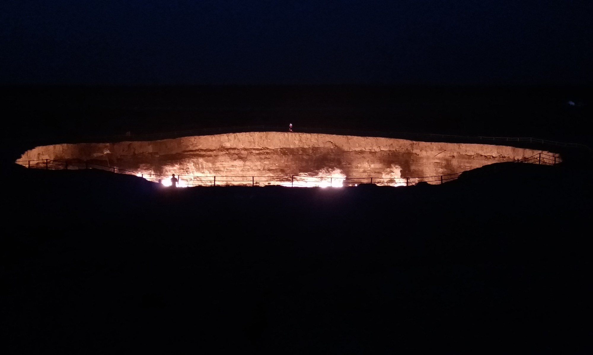 K in Motion Travel Blog. Travel to Turkmenistan - Frontier to Fire. Darvaza Gas Crater. Gate to Hell at Night