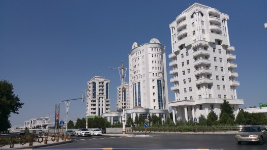 K in Motion Travel Blog. Travel to Turkmenistan - Overly Impressive Capital to Caspian Sea Port. Ashgabat White Buildings