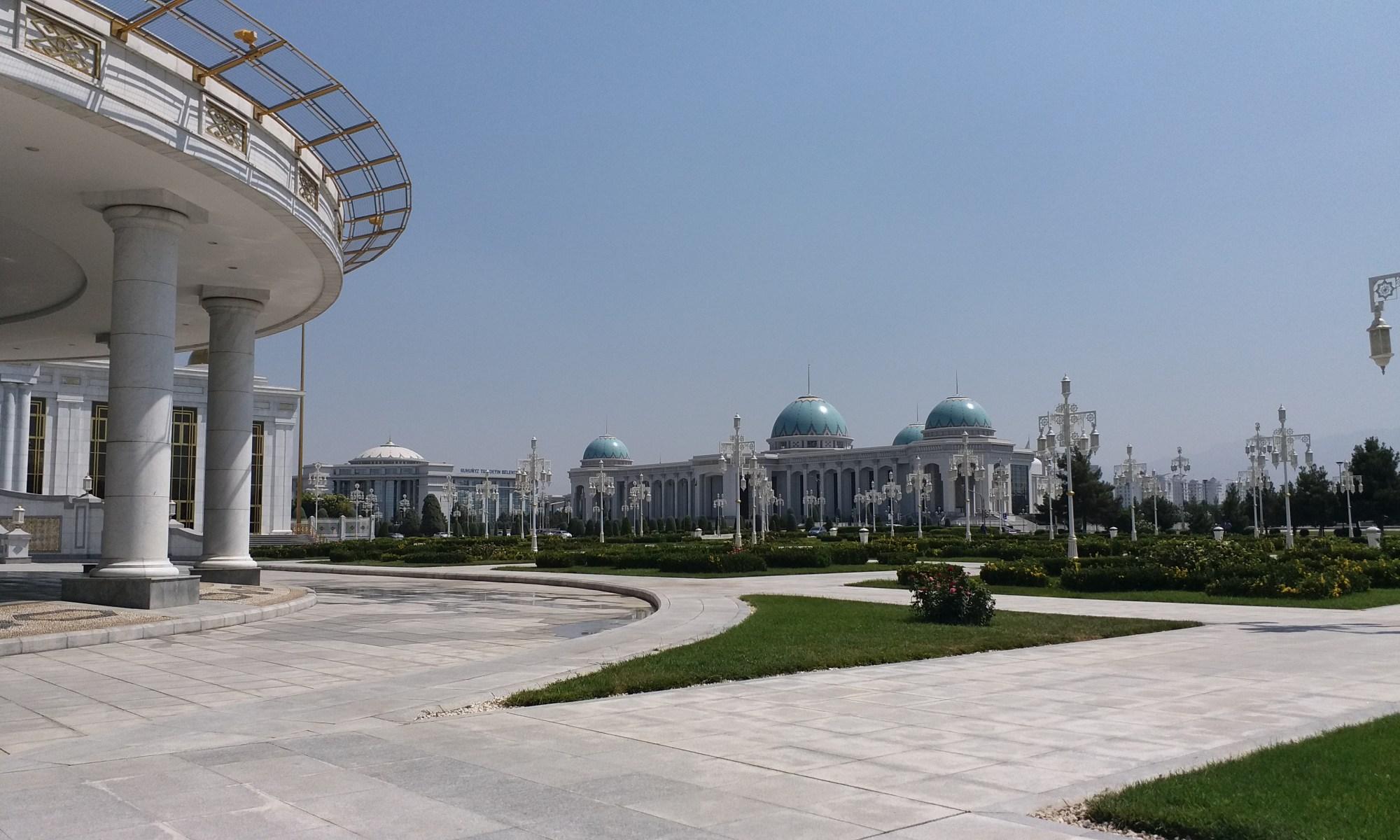 K in Motion Travel Blog. Travel to Turkmenistan - Overly Impressive Capital to Caspian Sea Port. Ashgabat White Domed Buildings