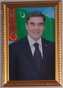 K in Motion Travel Blog. Travel to Turkmenistan - Overly Impressive Capital to Caspian Sea Port. Ashgabat. Ubiquitous Photo of the President
