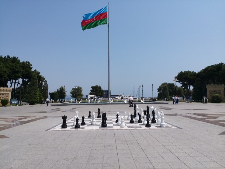 K in Motion Travel Blog. Beautiful Baku. Denizkenari Milli Park Chess and Flag