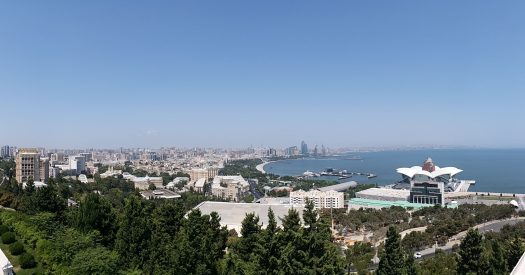 K in Motion Travel Blog. Beautiful Baku. View From the Top of the Hill. City and Sea