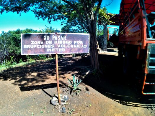 K in Motion Travel Blog. Love and Volcanoes in Nicaragua. Leon - Cerro Negro Warning Sign