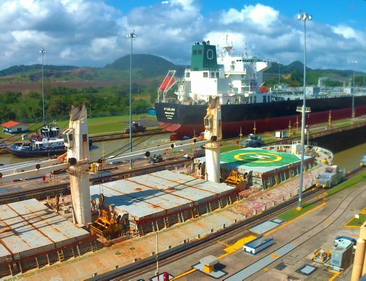 K in Motion Travel Blog. Party in Panama City. Panama Canal. Two Ships Passing Through The Minaflores Lock Gates