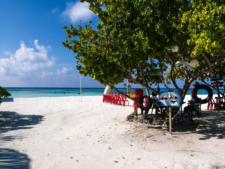 K in Motion Travel Blog. Travelling the Maldives on a Budget. Beach on Himmafushi