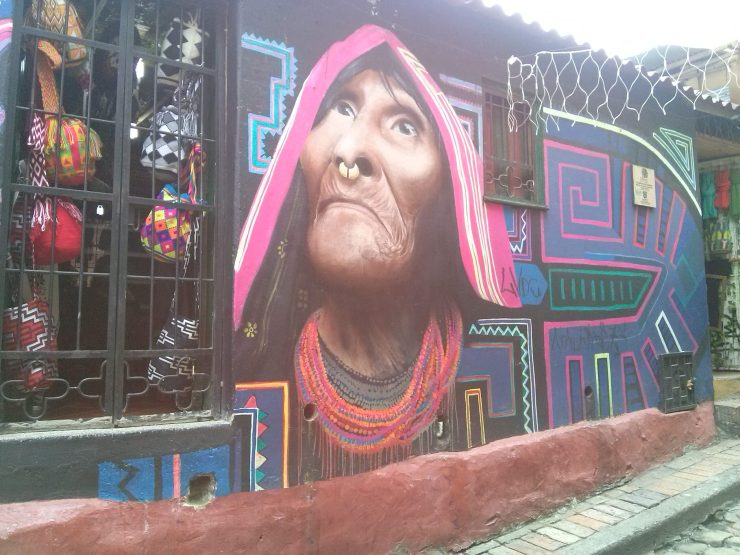 K in Motion Travel Blog. Contemporary Colombia Street Art. Bogota Traditional Woman