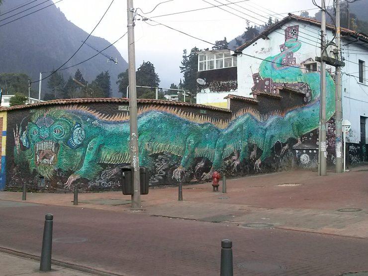 K in Motion Travel Blog. Contemporary Colombia Street Art. Bogota Dragon Mural